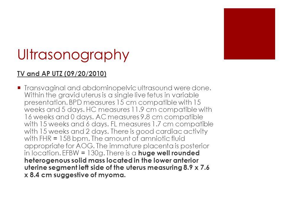 Ultrasonography TV and AP UTZ (09/20/2010)