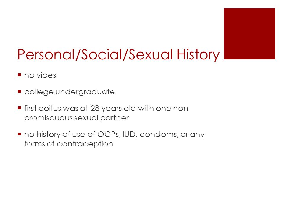 Personal/Social/Sexual History