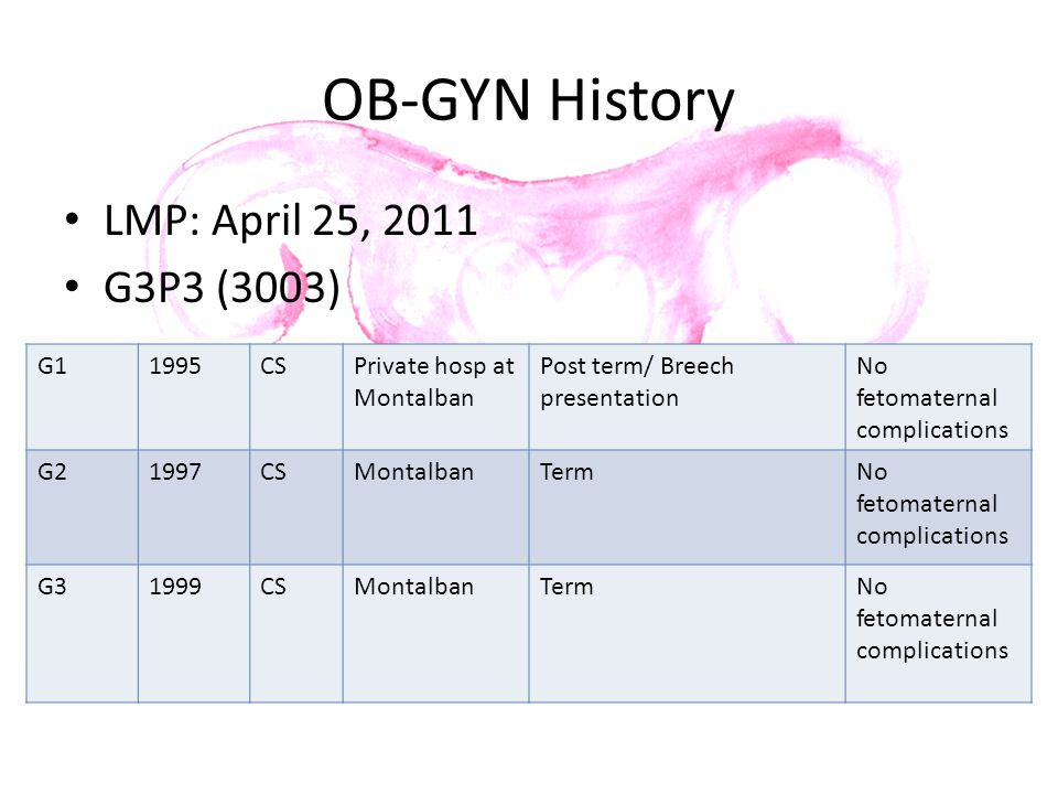 OB-GYN History LMP: April 25, 2011 G3P3 (3003) G1 1995 CS