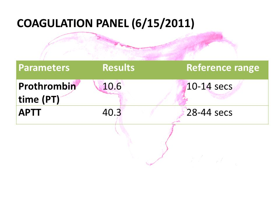 COAGULATION PANEL (6/15/2011)