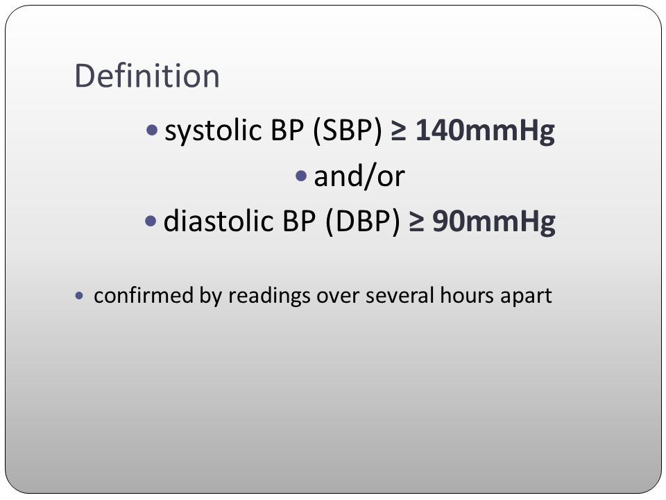 Definition systolic BP (SBP) ≥ 140mmHg and/or