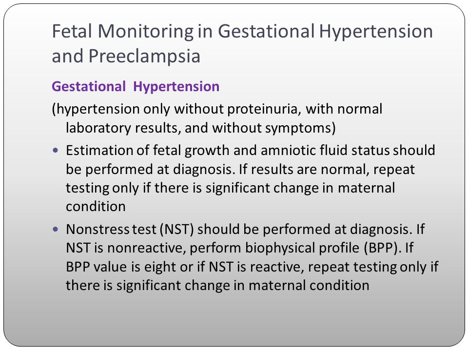 Fetal Monitoring in Gestational Hypertension and Preeclampsia