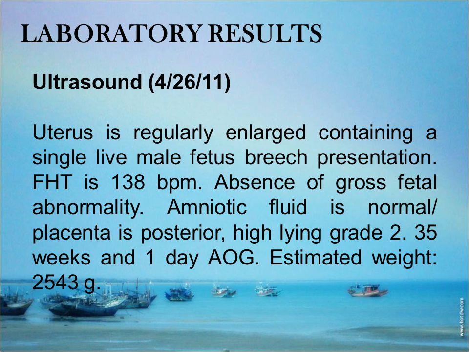 Laboratory results Ultrasound (4/26/11)