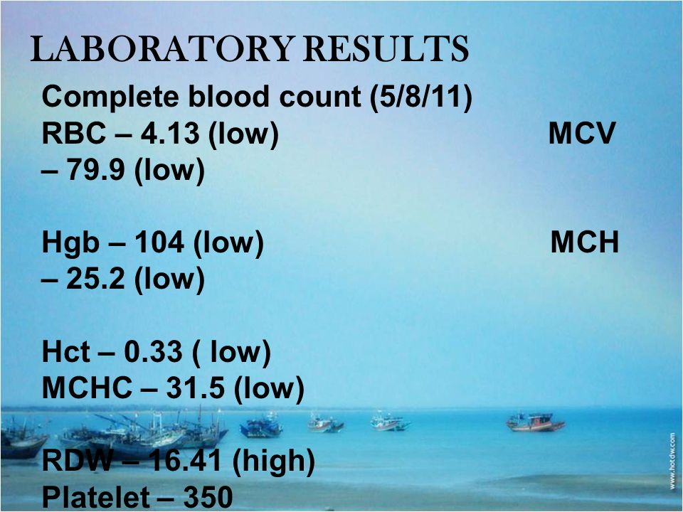 Laboratory results Complete blood count (5/8/11)