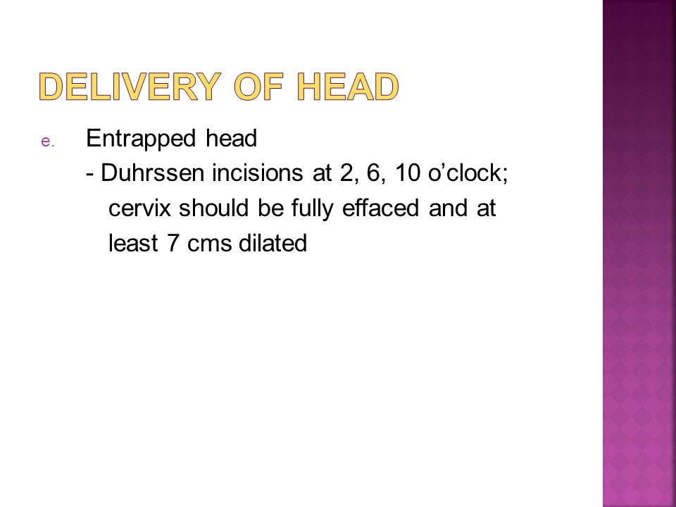 Delivery of head Entrapped head
