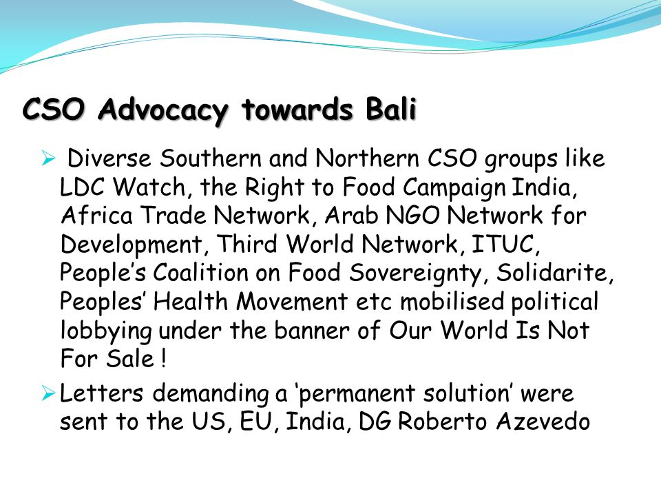 CSO Advocacy towards Bali