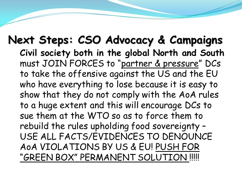 Next Steps: CSO Advocacy & Campaigns