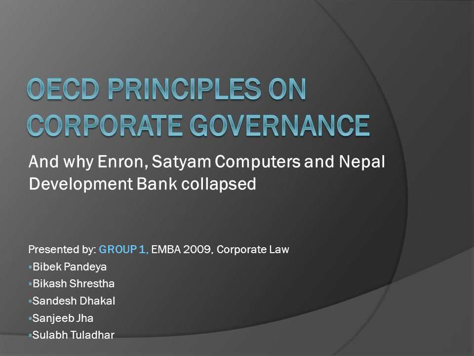 oecd principles The principles deal with the role of stakeholders in corporate governance and outline in a principles-based manner what is needed to ensure timely and accurate disclosure on all material matters regarding the corporation.