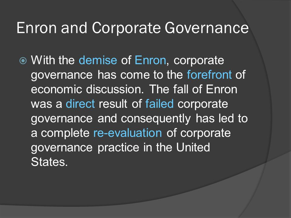 Enron and Corporate Governance