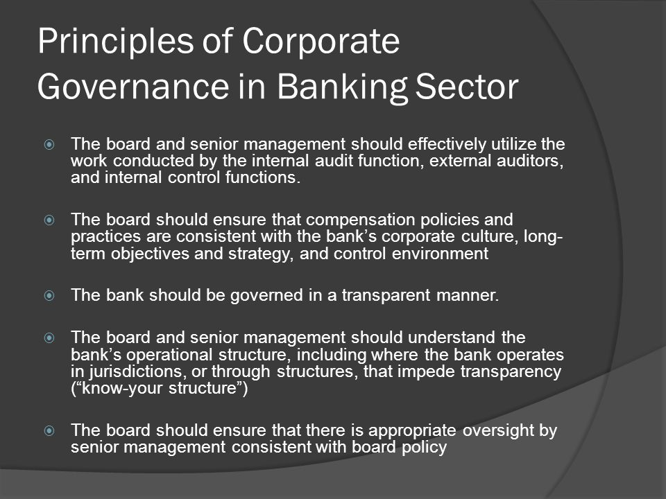 Principles of Corporate Governance in Banking Sector