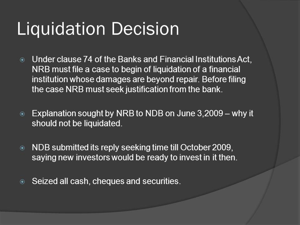 Liquidation Decision
