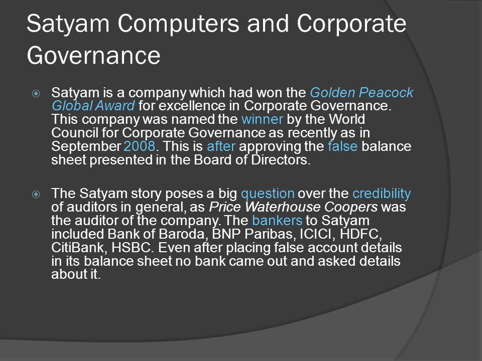 Satyam Computers and Corporate Governance