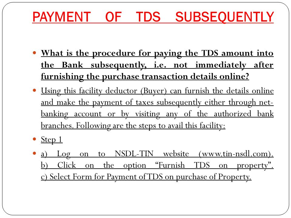 PAYMENT OF TDS SUBSEQUENTLY