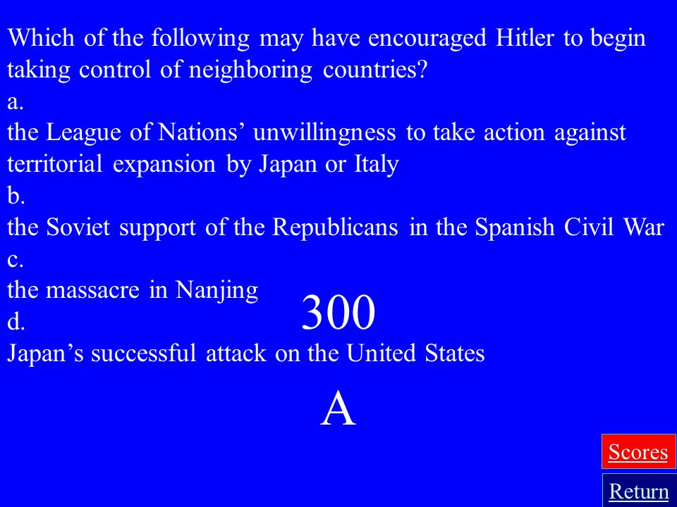 Which of the following may have encouraged Hitler to begin taking control of neighboring countries