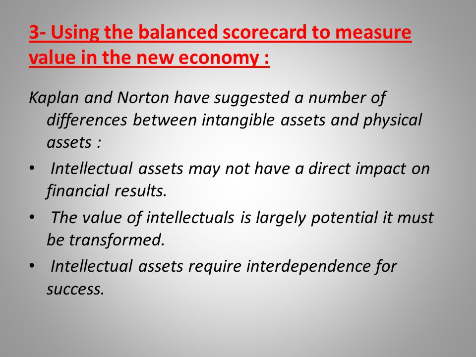 3- Using the balanced scorecard to measure value in the new economy :