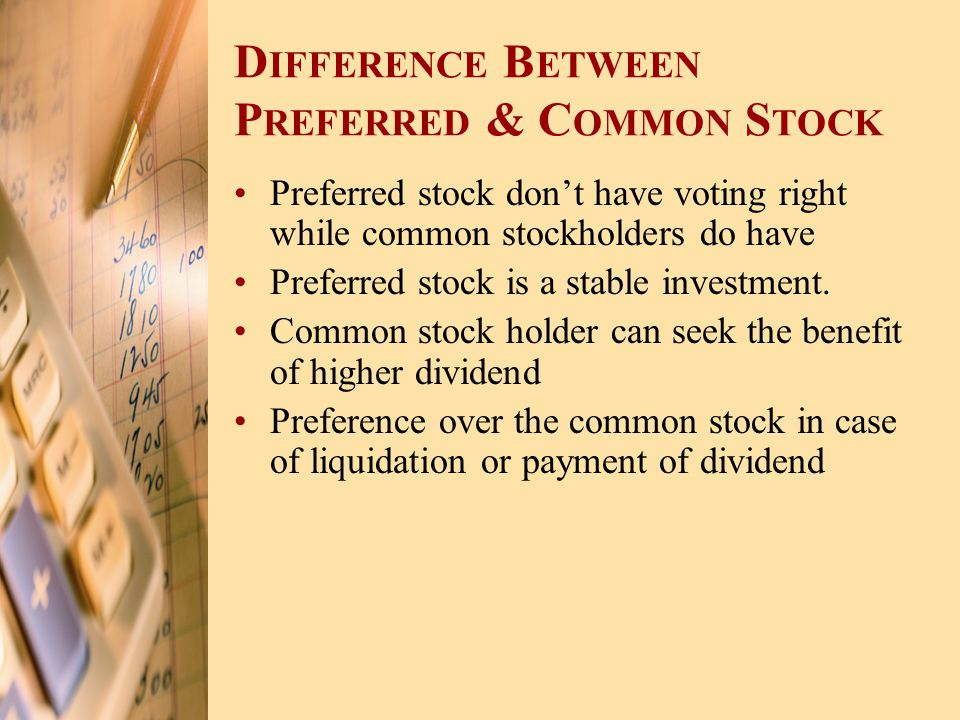 Difference Between Preferred & Common Stock