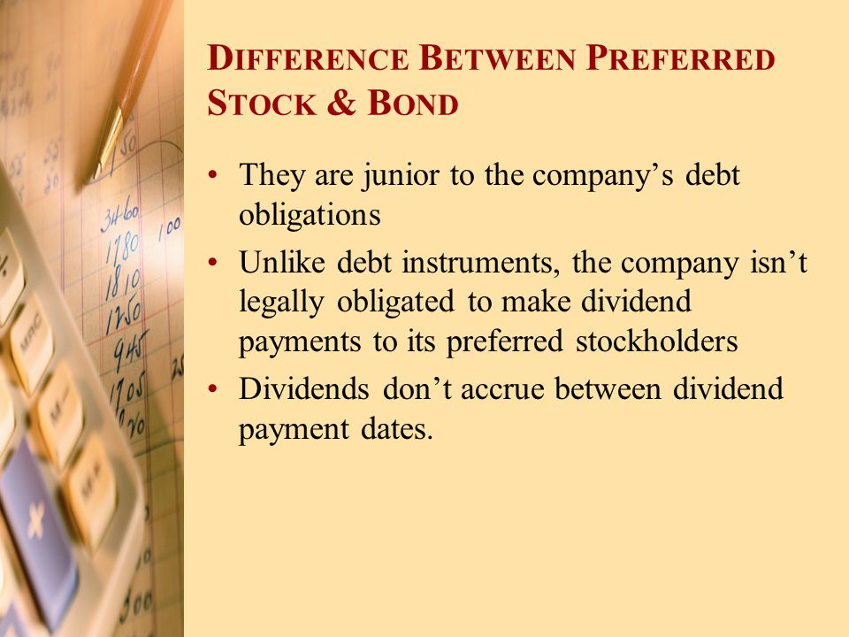 Difference Between Preferred Stock & Bond
