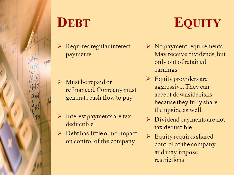Debt Equity Requires regular interest payments.