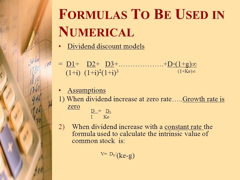 Formulas To Be Used in Numerical
