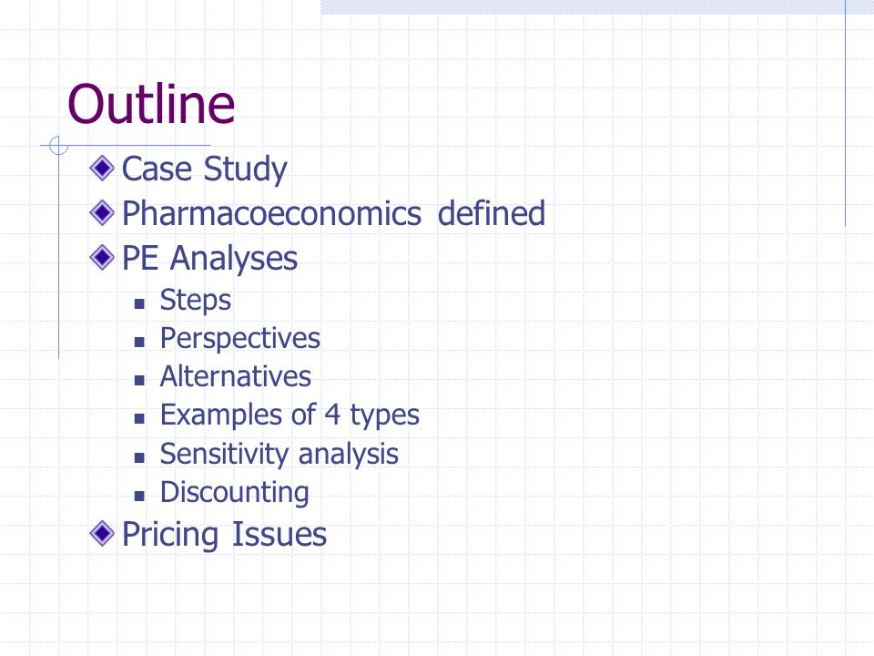 Outline Case Study Pharmacoeconomics defined PE Analyses