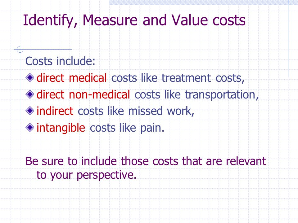 Identify, Measure and Value costs
