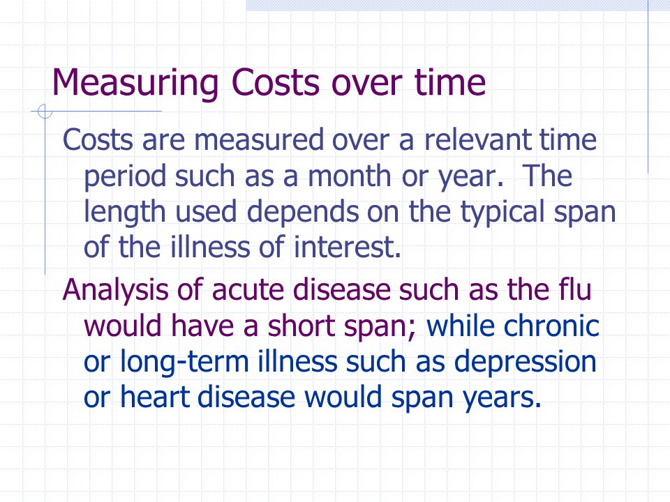 Measuring Costs over time