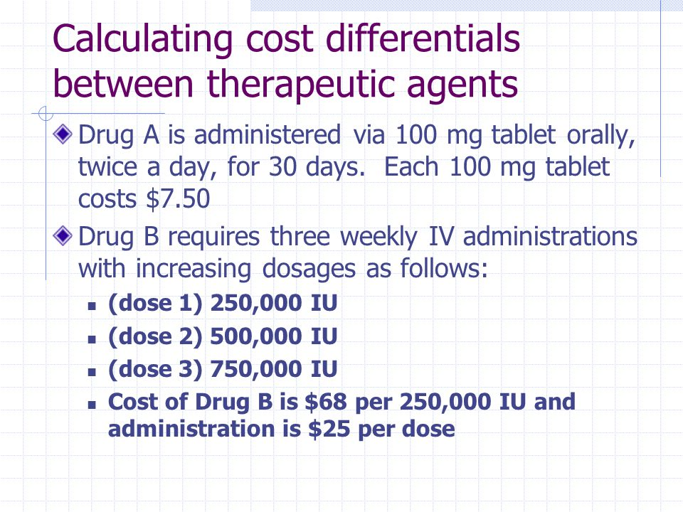 Calculating cost differentials between therapeutic agents
