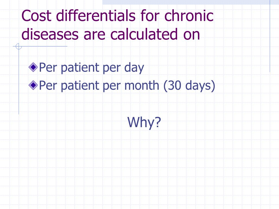 Cost differentials for chronic diseases are calculated on