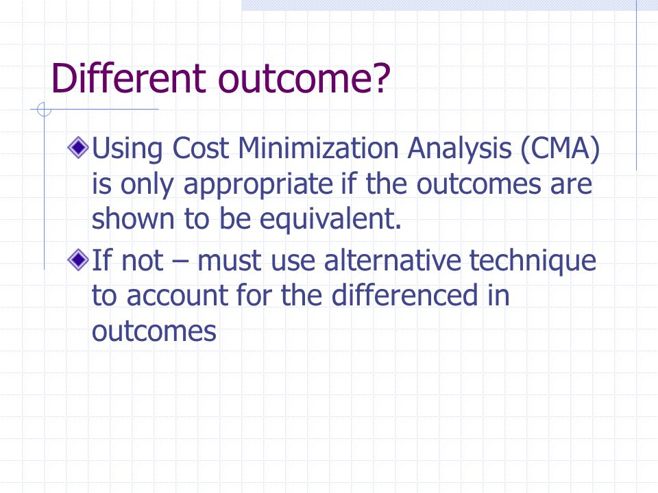Different outcome Using Cost Minimization Analysis (CMA) is only appropriate if the outcomes are shown to be equivalent.