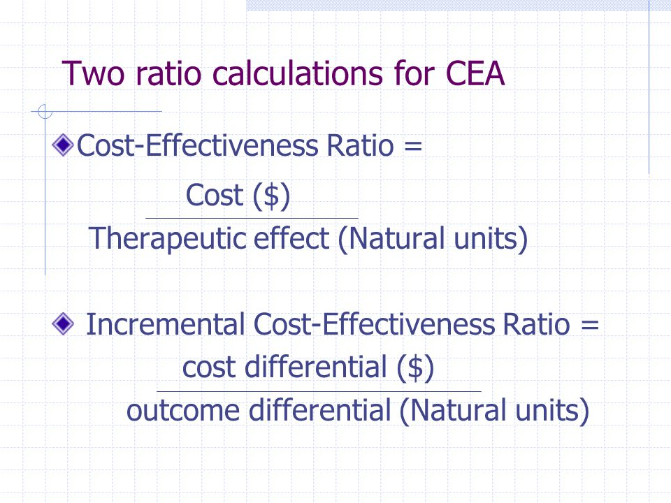 Two ratio calculations for CEA