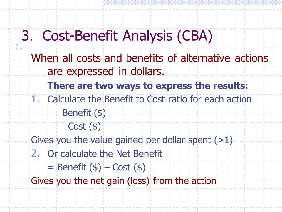 3. Cost-Benefit Analysis (CBA)