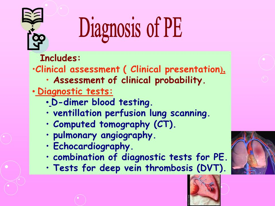 Diagnosis of PE Includes: