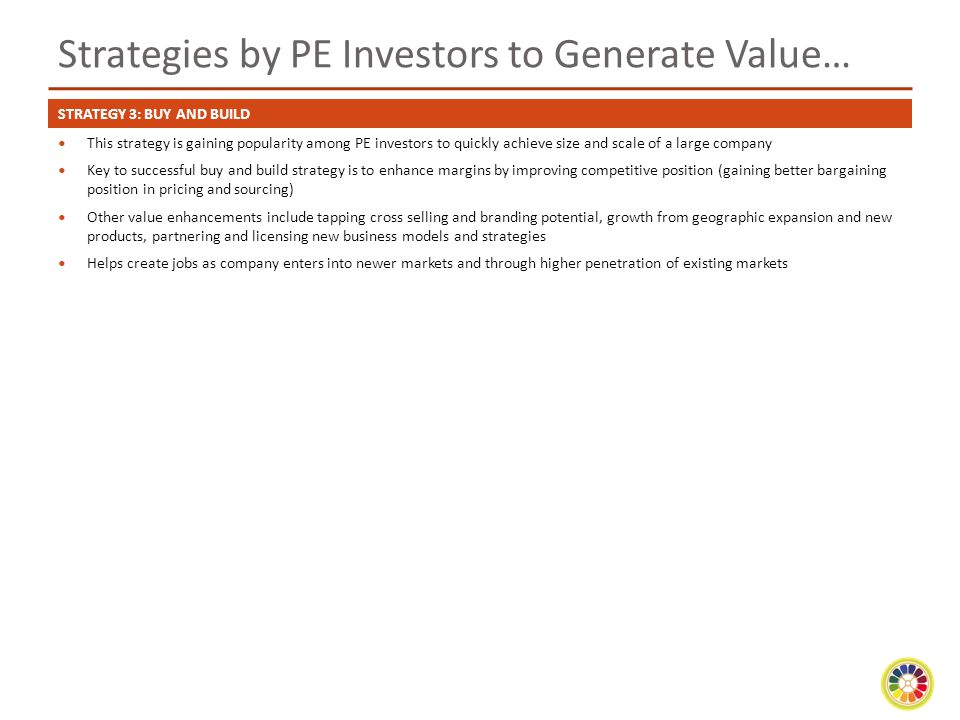 Strategies by PE Investors to Generate Value…