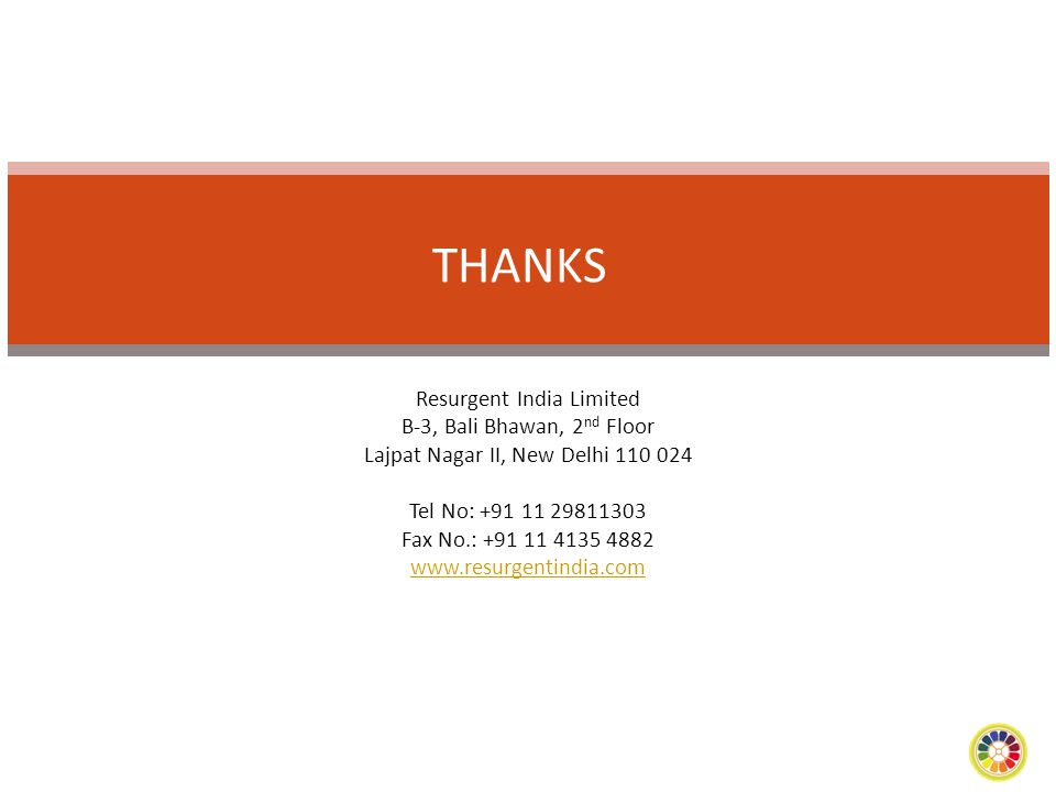 THANKS Resurgent India Limited B-3, Bali Bhawan, 2nd Floor