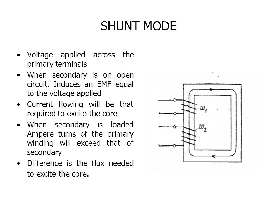 SHUNT MODE Voltage applied across the primary terminals