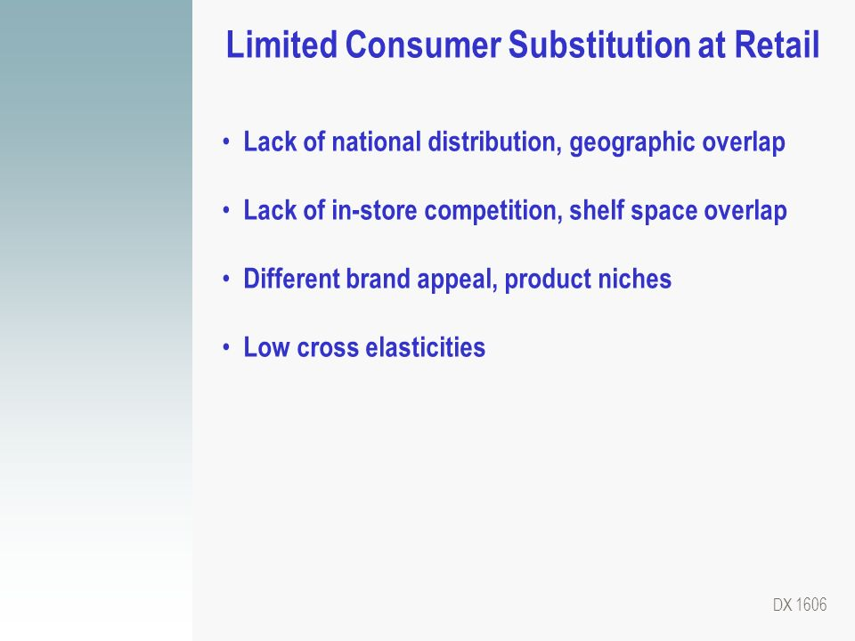 Limited Consumer Substitution at Retail
