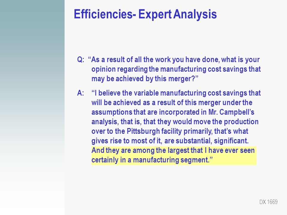Efficiencies- Expert Analysis