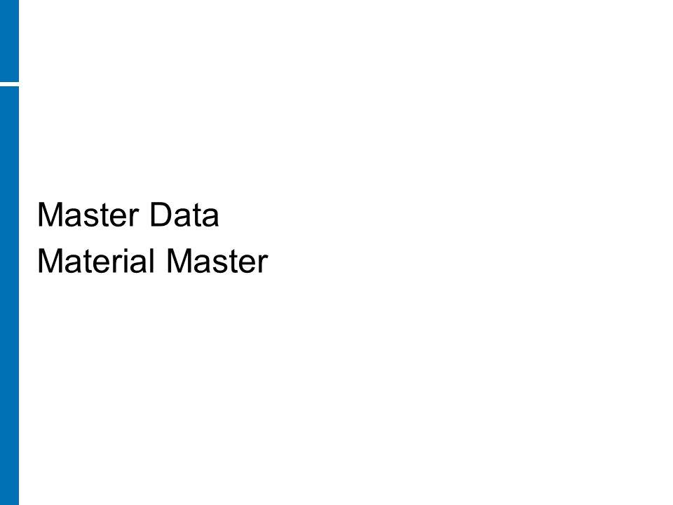 Master Data Material Master