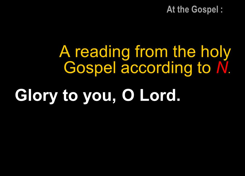 A reading from the holy Gospel according to N. Glory to you, O Lord.