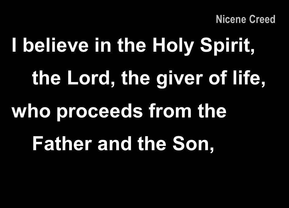 I believe in the Holy Spirit, the Lord, the giver of life,