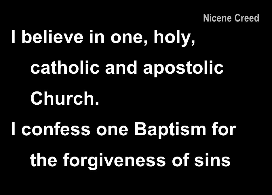 I believe in one, holy, catholic and apostolic Church.