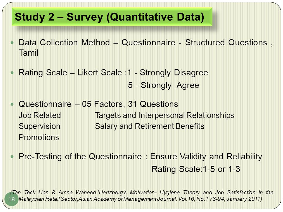 Study 2 – Survey (Quantitative Data)