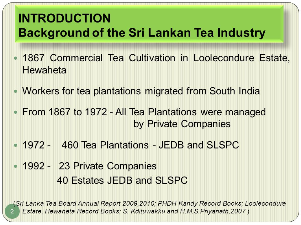 INTRODUCTION Background of the Sri Lankan Tea Industry