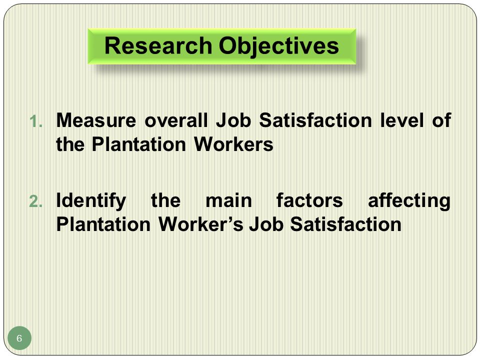 Measure overall Job Satisfaction level of the Plantation Workers