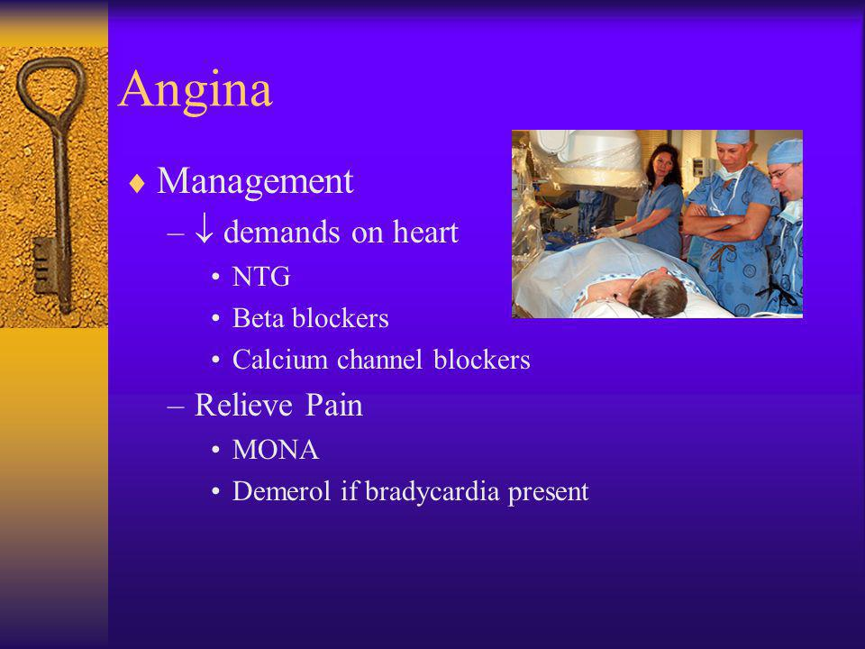 Angina Management  demands on heart Relieve Pain NTG Beta blockers