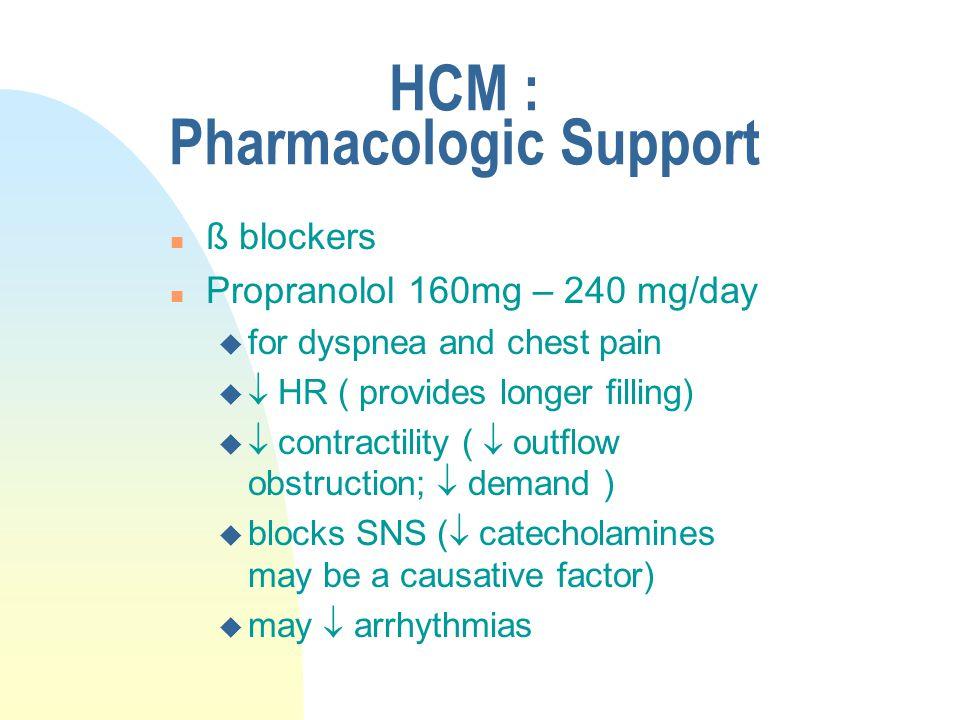 HCM : Pharmacologic Support