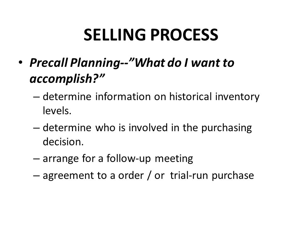 SELLING PROCESS Precall Planning-- What do I want to accomplish