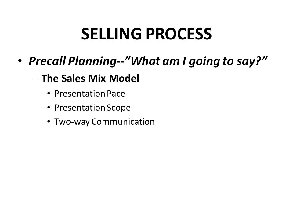 SELLING PROCESS Precall Planning-- What am I going to say