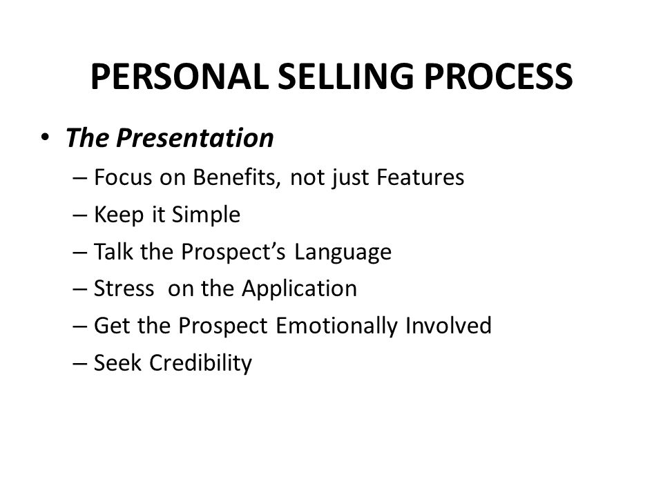 PERSONAL SELLING PROCESS