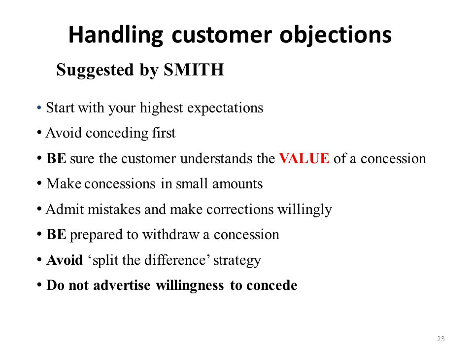 Handling customer objections